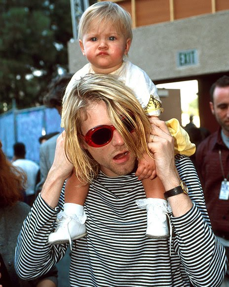 Kurt Cobain with daughter Frances Bean Cobain outside of the 10th Annual MTV Video Music Awards on September 2, 1993 in Universal City, California.